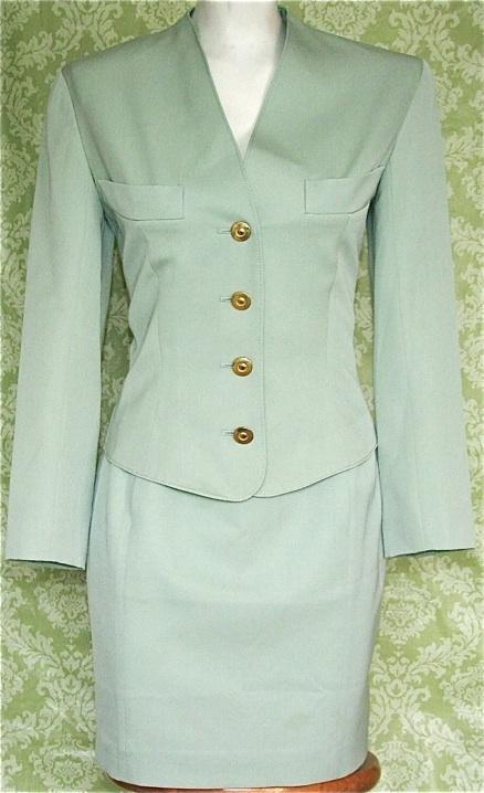 Vintage 80s Junko Shimada miniskirt suit in green