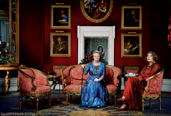 Maggie Smith as the Dowager Countess of Grantham with her son's mother-in-law, Martha Levinson, played by Shirley MacLaine, photographed in the Octagon Room at Basildon Park, in West Berkshire, England.